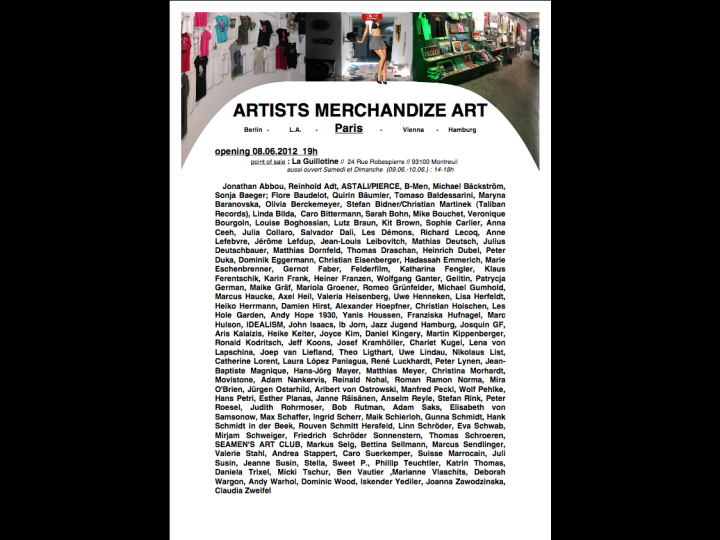 Artists Merchandising Art. Paris, artists list